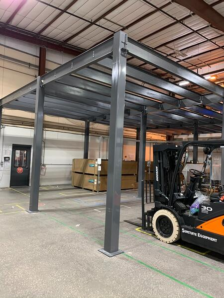 mezzanine construction early stages using electric forklift